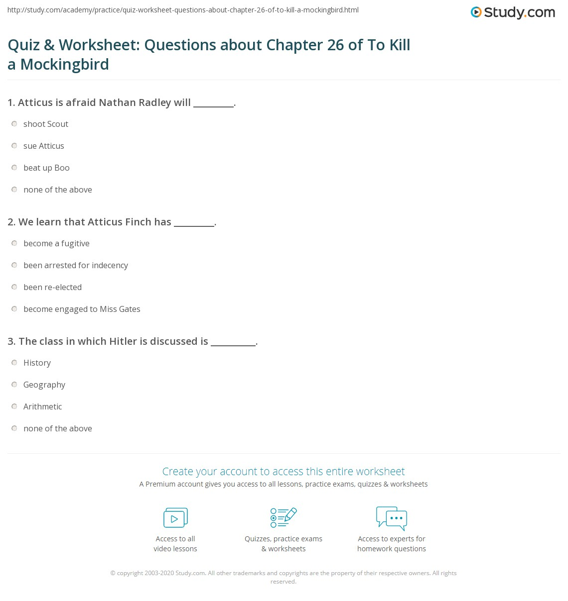 quiz worksheet questions about chapter 26 of to kill a print to kill a mockingbird chapter 26 summary worksheet