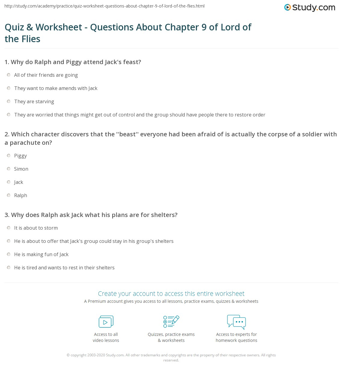 quiz worksheet questions about chapter of lord of the flies print lord of the flies chapter 9 summary quotes worksheet