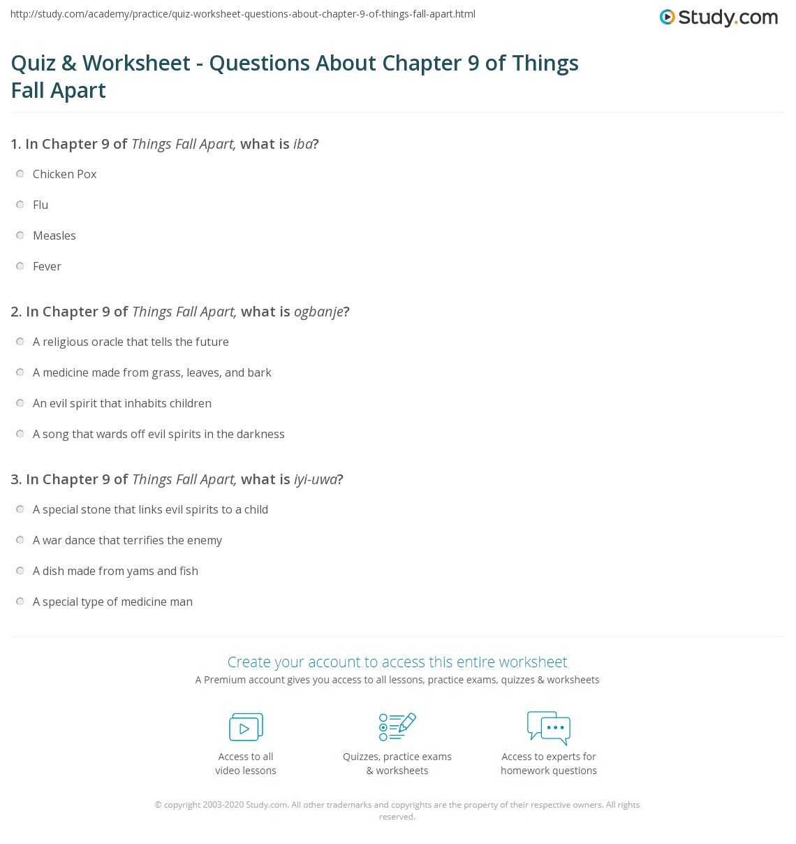 quiz worksheet questions about chapter of things fall apart print things fall apart chapter 9 summary worksheet
