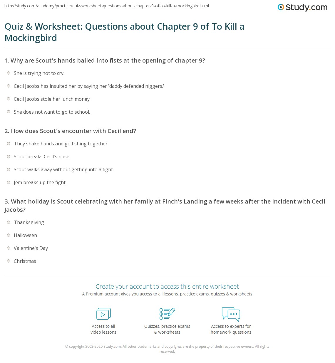 To Kill A Mockingbird Worksheets: Quiz & Worksheet  Questions about Chapter 9 of To Kill a    ,