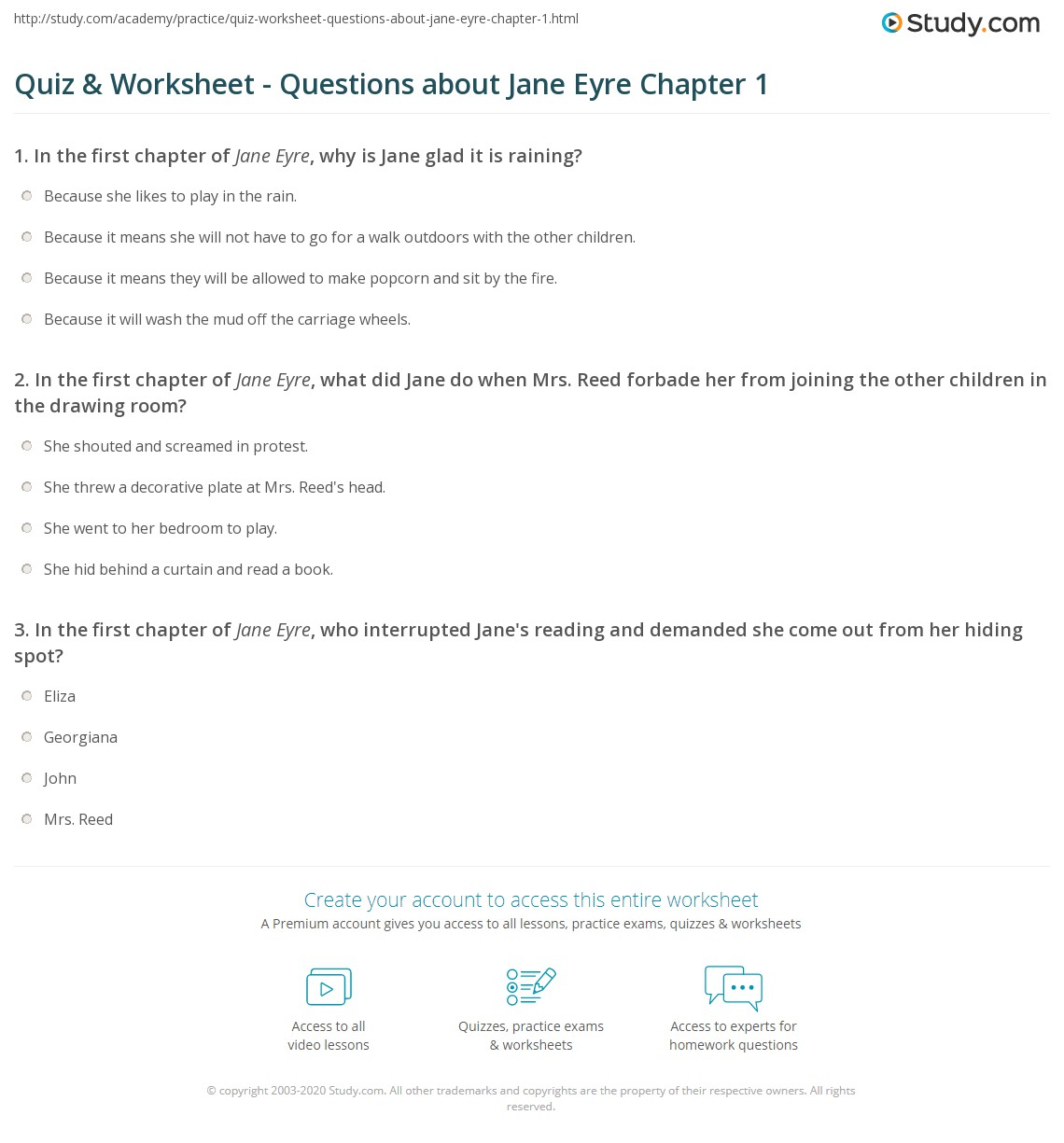 quiz worksheet questions about jane eyre chapter com print jane eyre chapter 1 summary worksheet