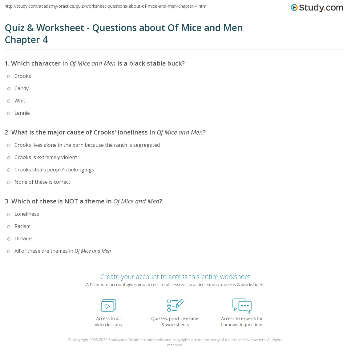 quiz worksheet questions about of mice and men chapter  what is the major cause of crooks loneliness in of mice and men