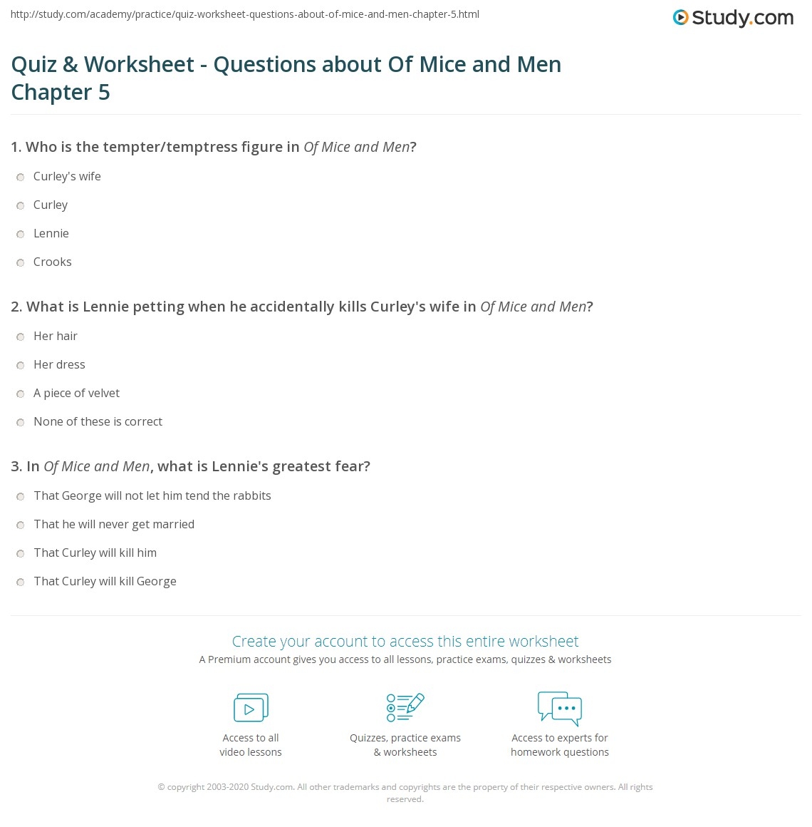 Printables Of Mice And Men Worksheet quiz worksheet questions about of mice and men chapter 5 print summary quotes worksheet