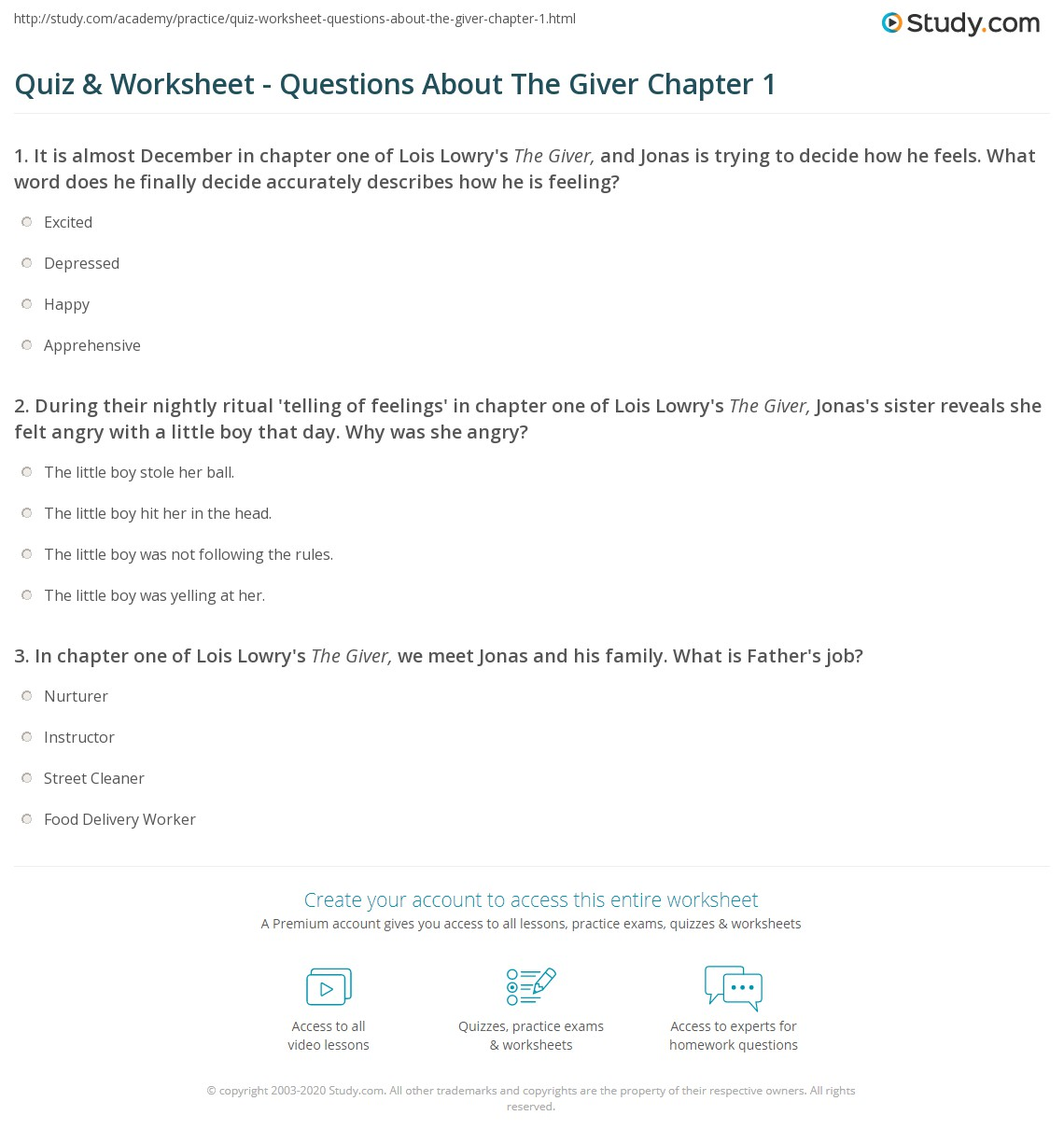 quiz worksheet questions about the giver chapter com print the giver chapter 1 summary quotes worksheet