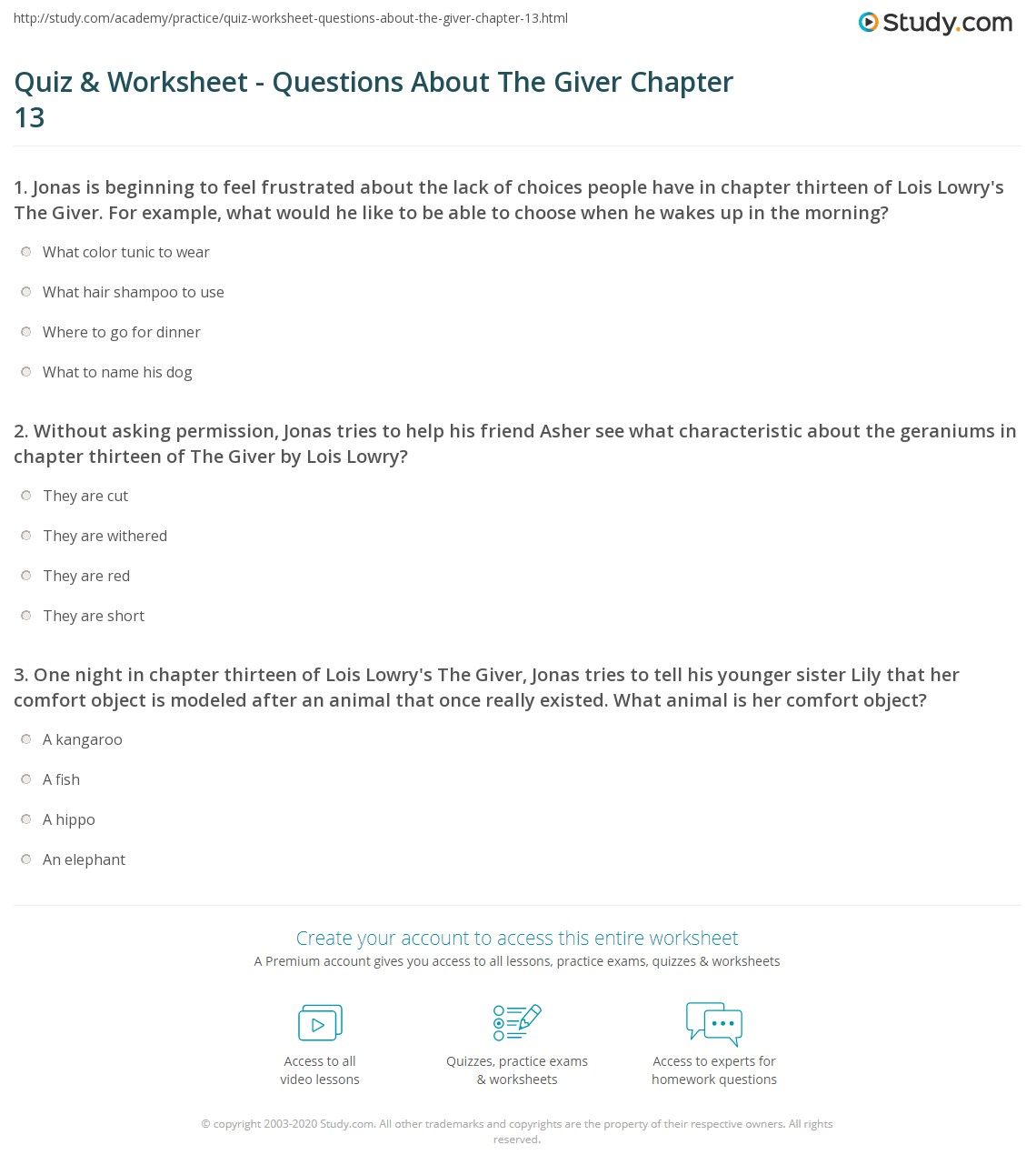 Worksheets Chapter 13 Worksheet quiz worksheet questions about the giver chapter 13 study com print summary quotes worksheet