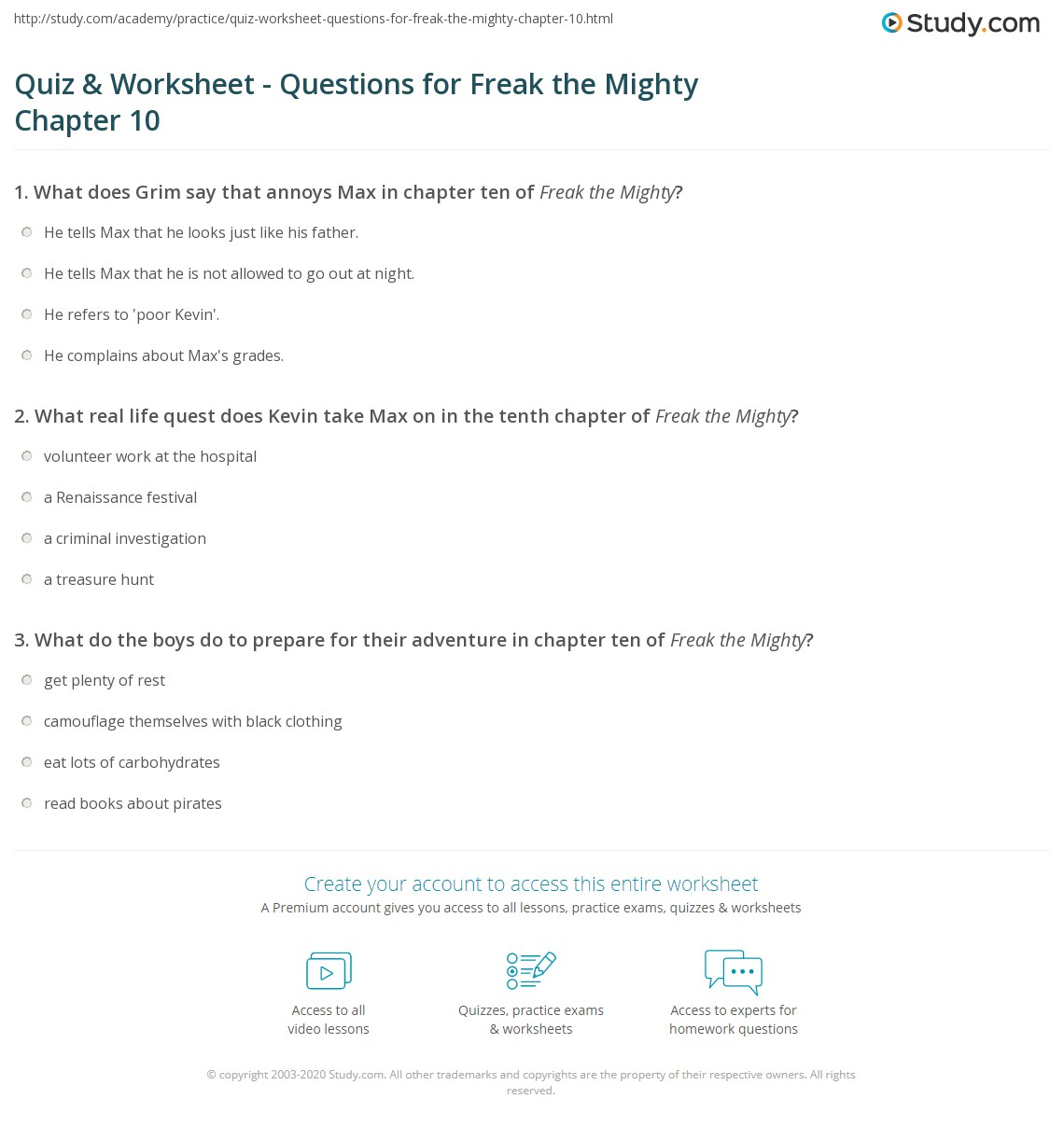 ... & Worksheet - Questions for Freak the Mighty Chapter 10 | Study.com