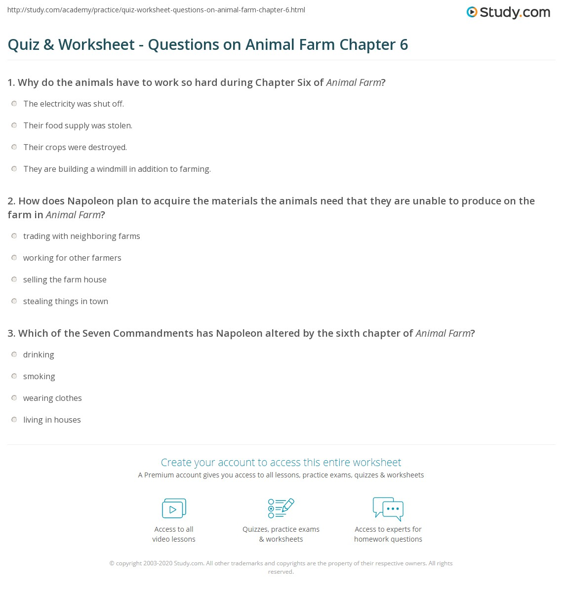 Quiz Worksheet Questions on Animal Farm Chapter 6 – Animal Farm Worksheets