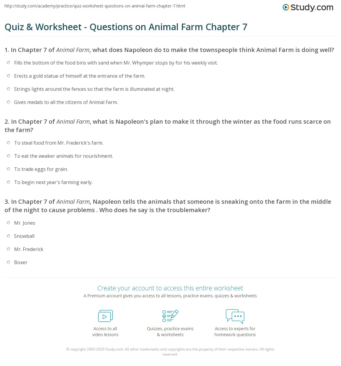 quiz worksheet questions on animal farm chapter com in chapter 7 of animal farm what is napoleon s plan to make it through the winter as the food runs scarce on the farm