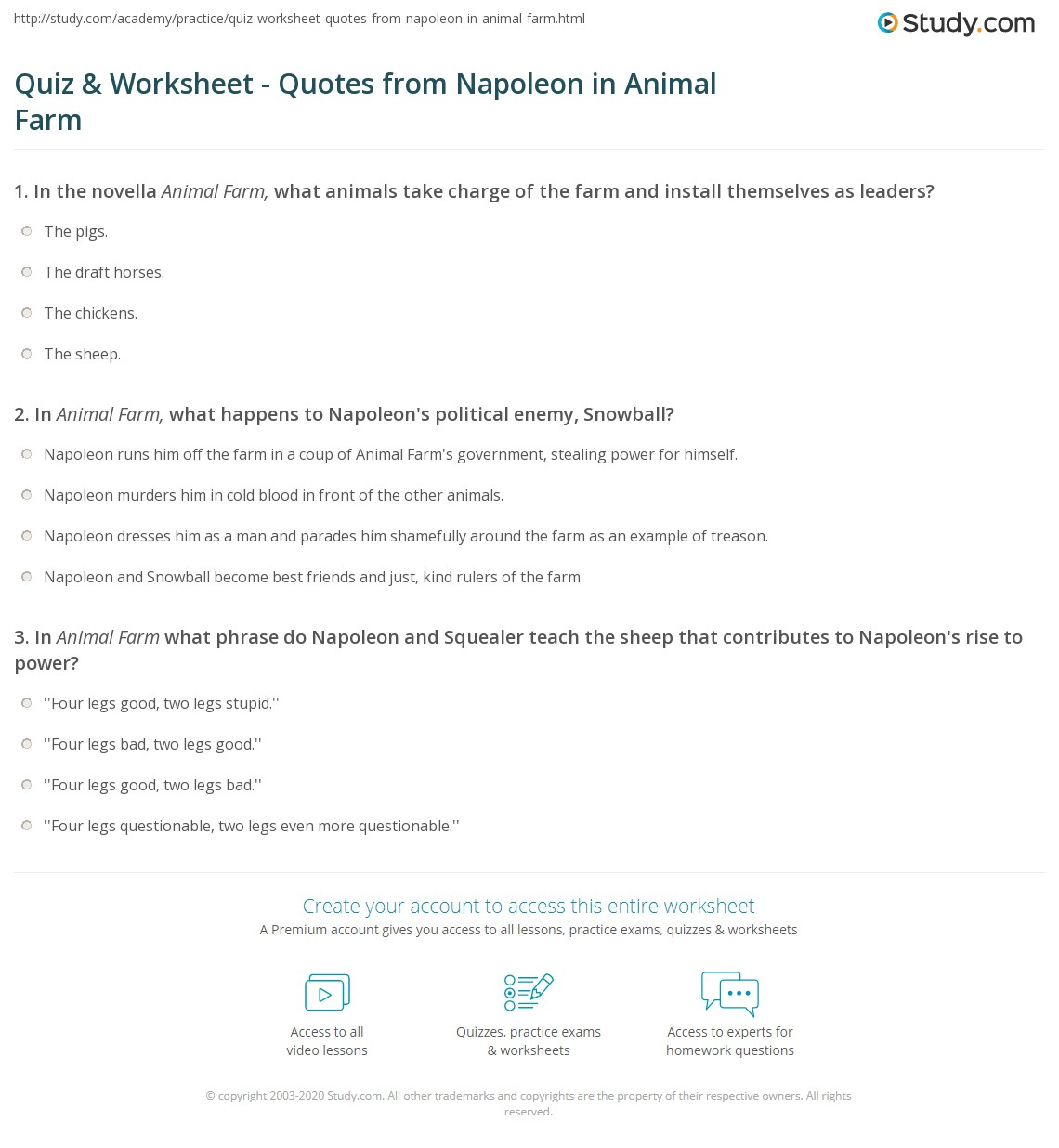 quiz worksheet quotes from napoleon in animal farm com print napoleon s quotes from animal farm worksheet