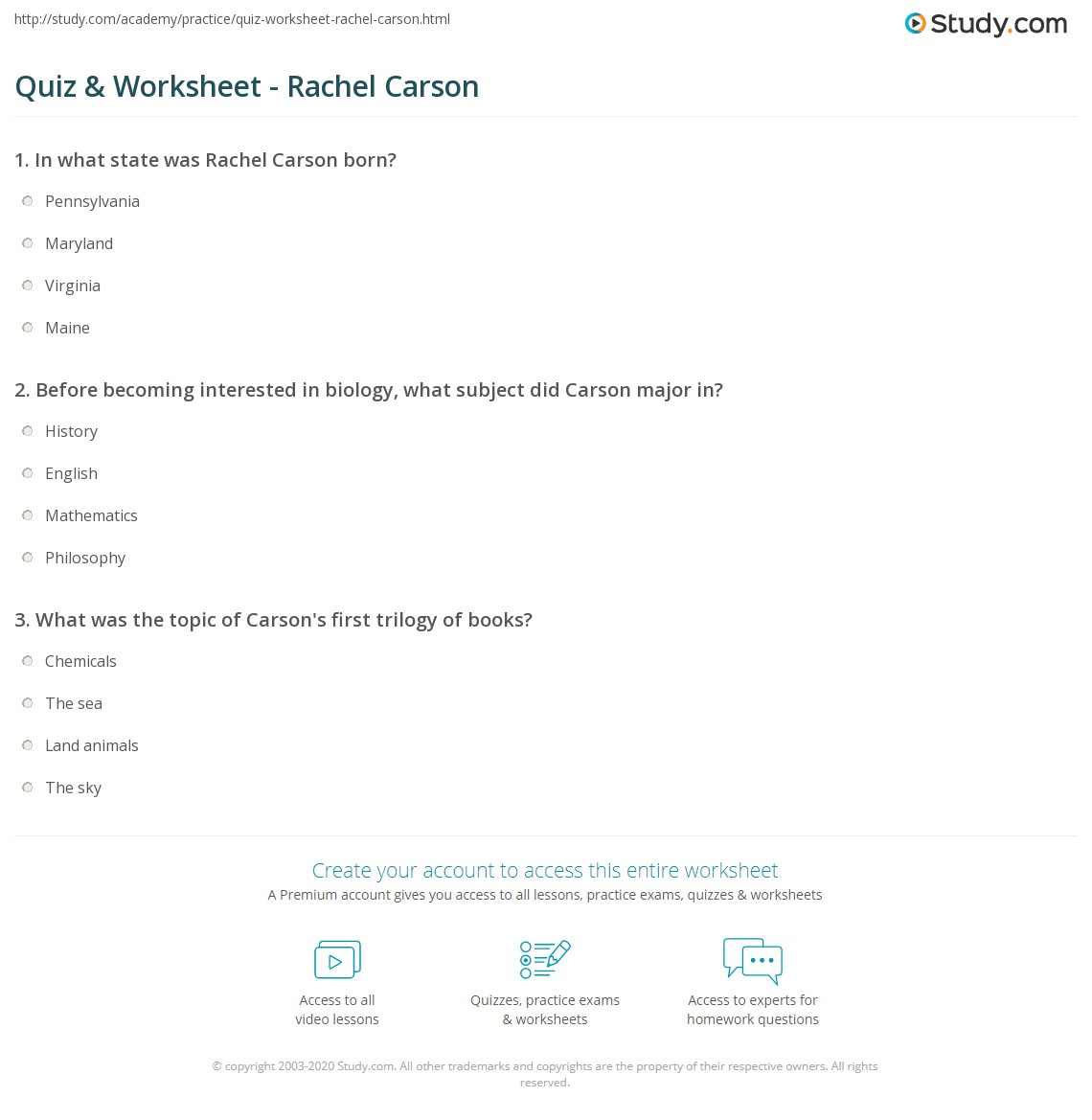 quiz worksheet rachel carson com print rachel carson biography facts books worksheet