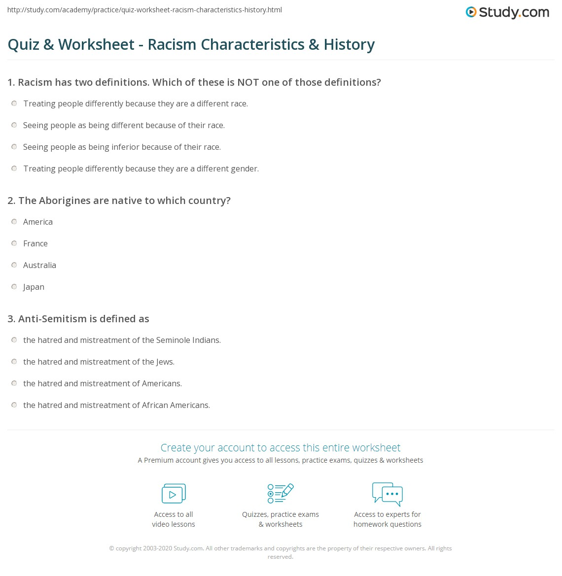 Printables Racism Worksheets quiz worksheet racism characteristics history study com print what is definition examples worksheet
