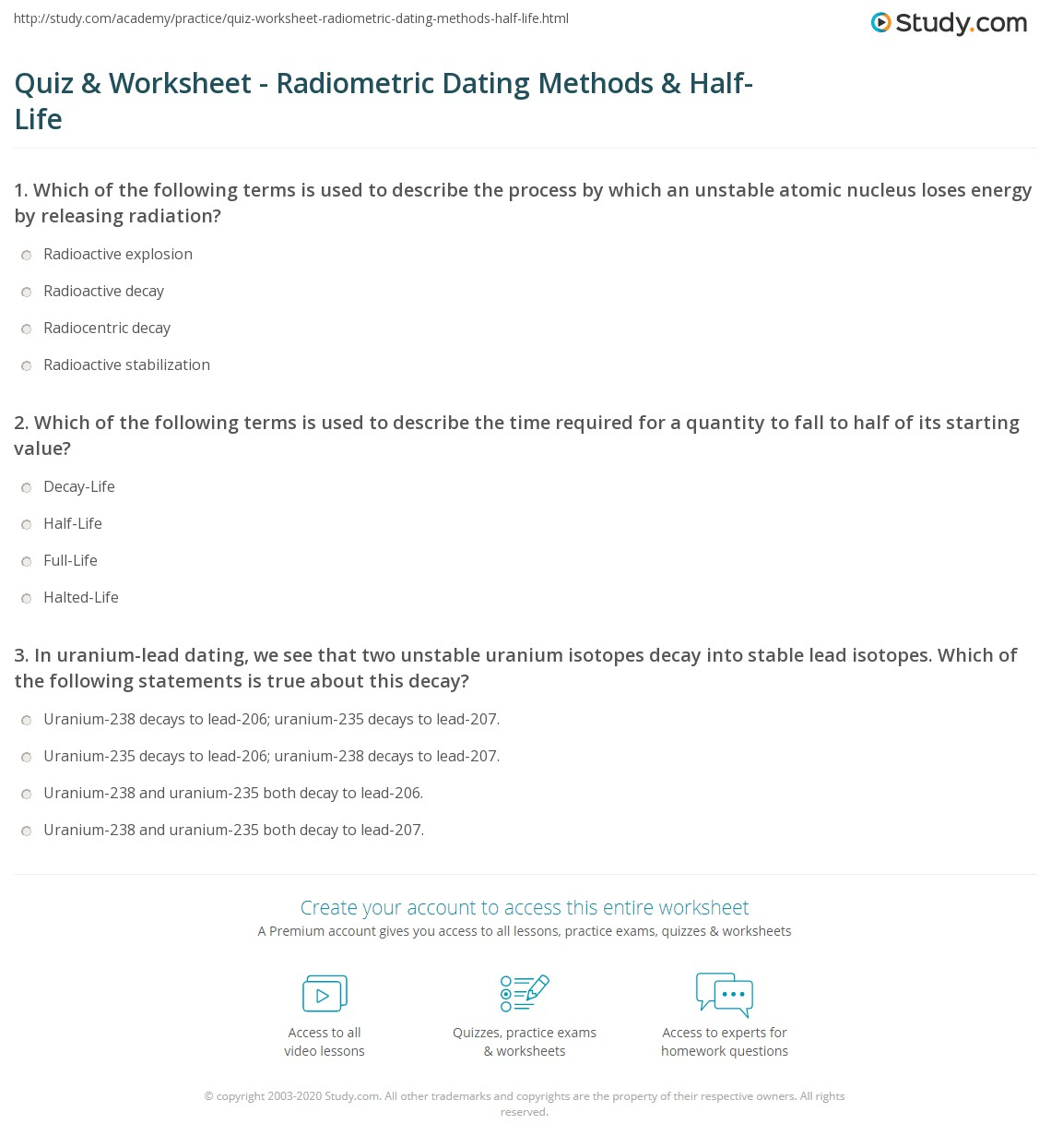 Quiz & Worksheet - Radiometric Dating Methods & Half-Life  Study.com