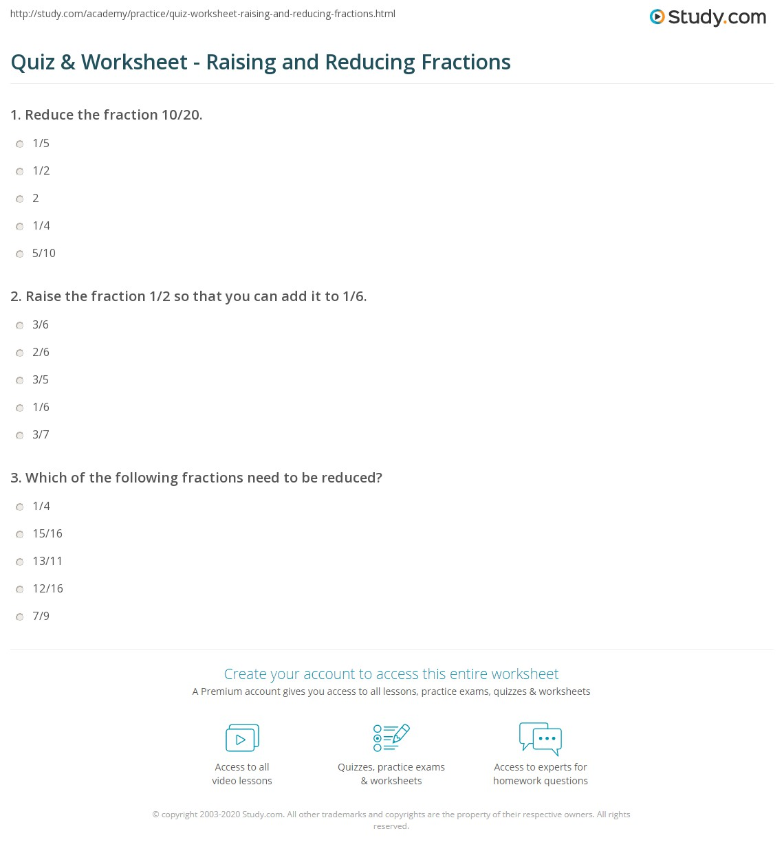Quiz Worksheet Raising and Reducing Fractions – Fraction Reduction Worksheet