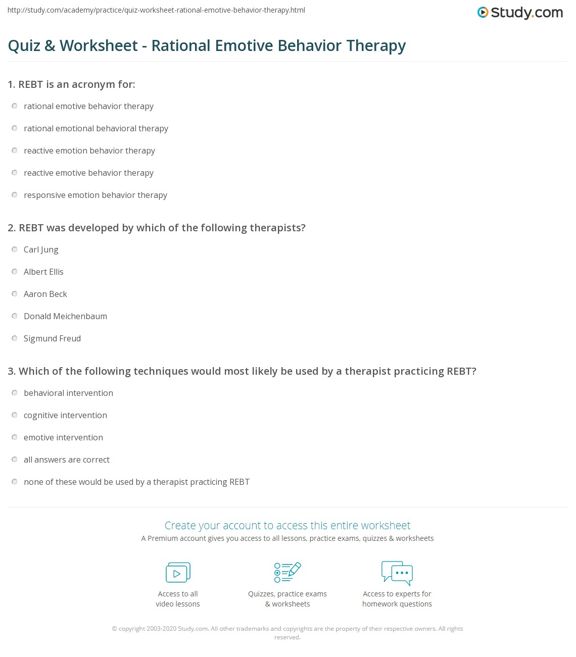Rational Emotive Therapy Worksheet Free Worksheets Library
