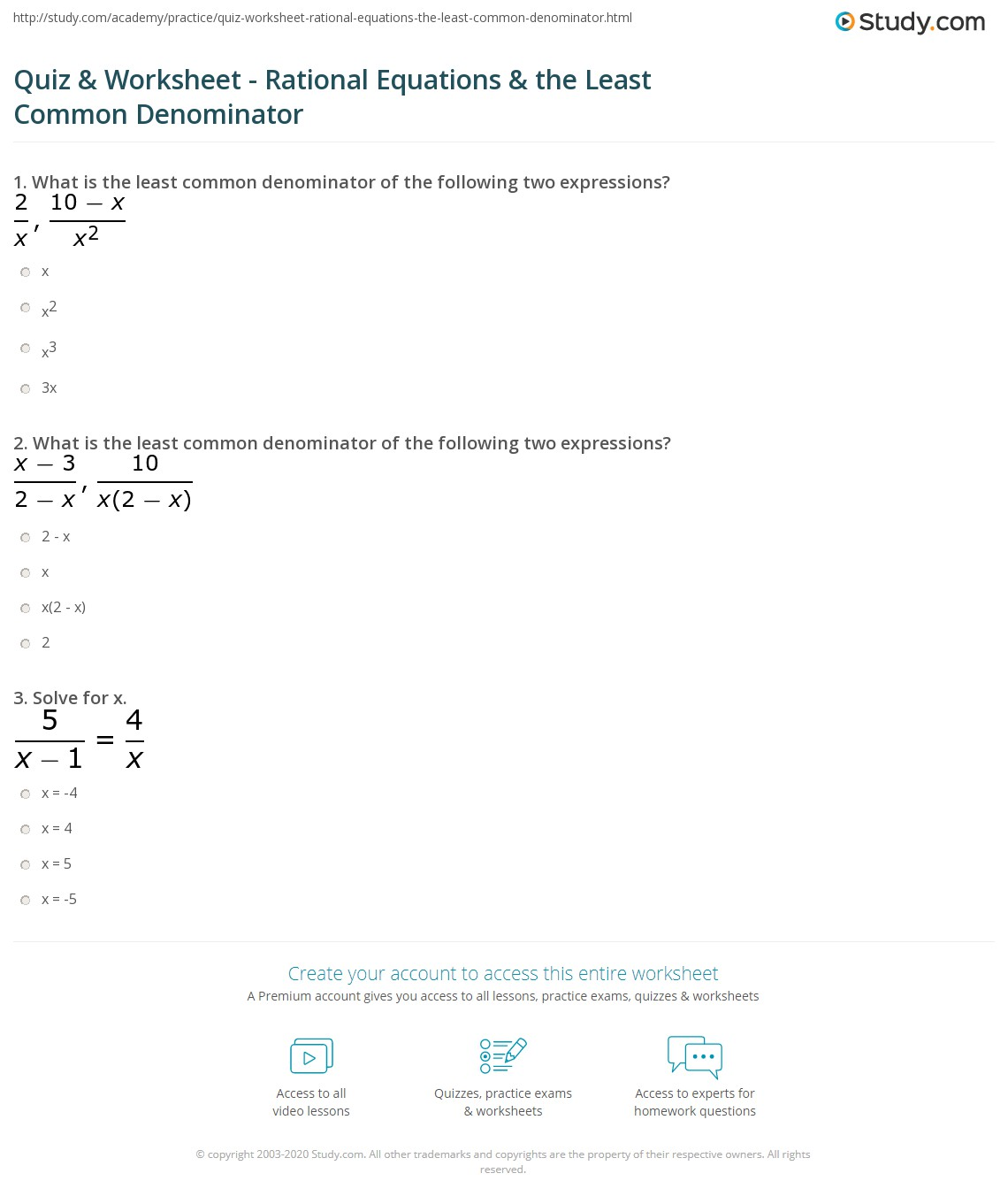 Quiz Worksheet Rational Equations the Least Common – Finding Common Denominators Worksheet