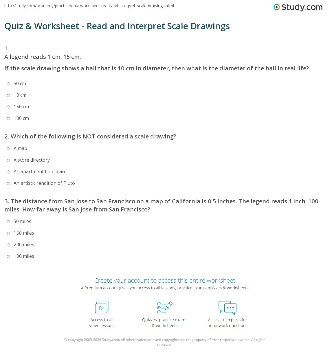 Quiz and Worksheet Read and Interpret Scale Drawings – Scale Drawing Worksheet