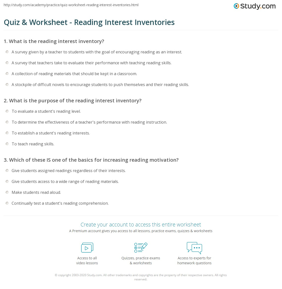 Quiz & Worksheet - Reading Interest Inventories | Study.com