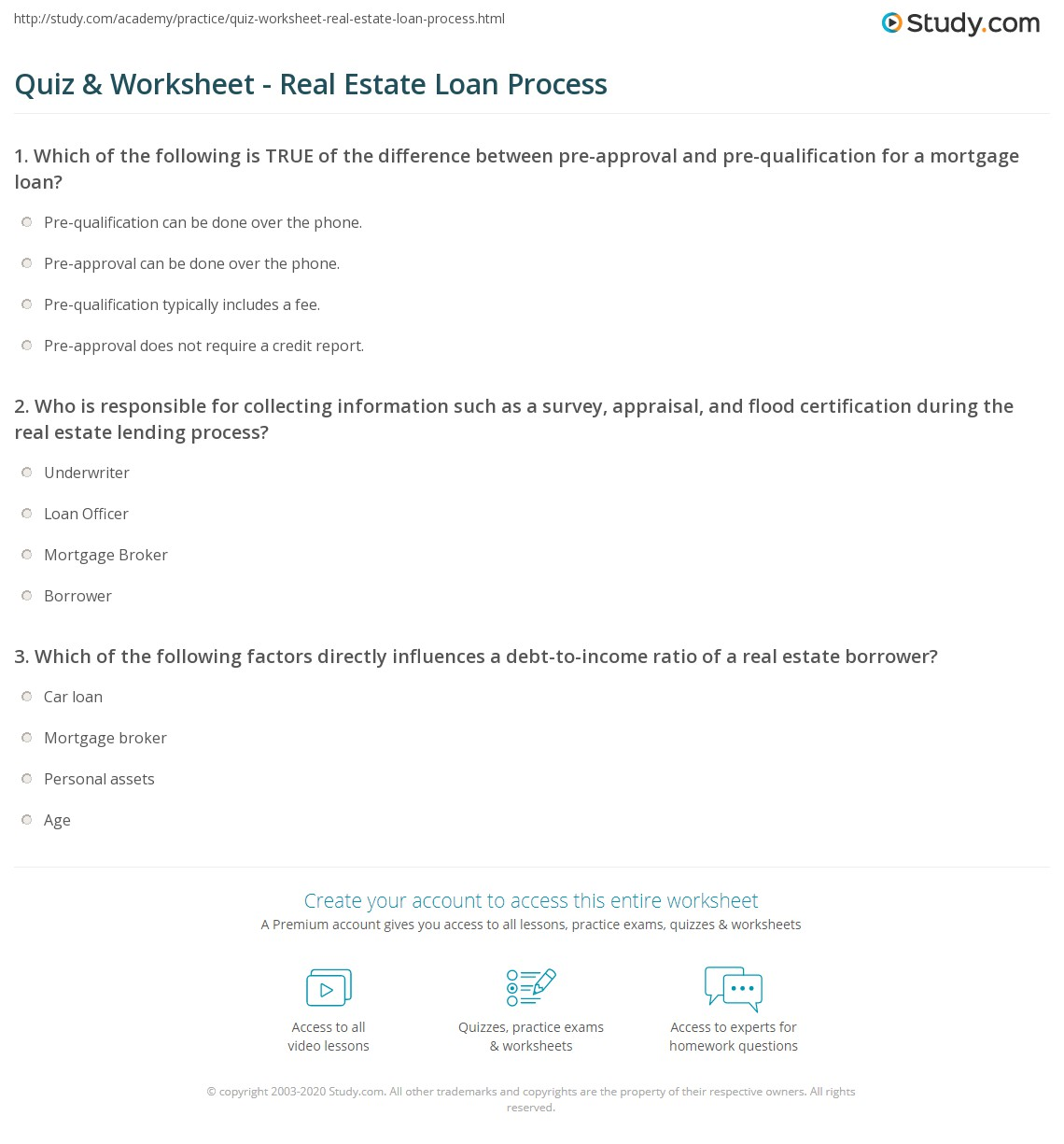 Printables Mortgage Pre Qualification Worksheet quiz worksheet real estate loan process study com print the lending worksheet