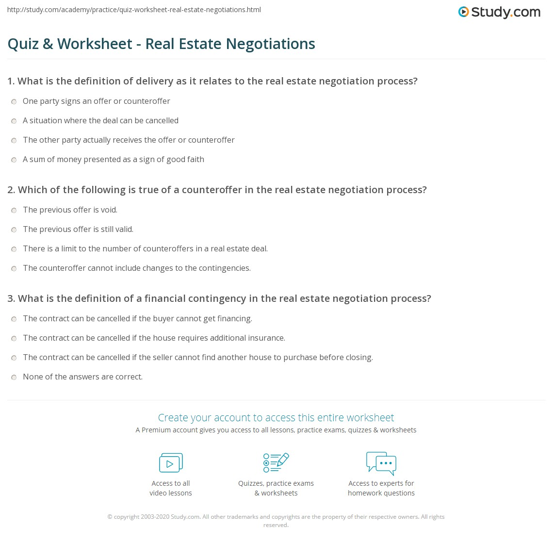 quiz worksheet real estate negotiations. Black Bedroom Furniture Sets. Home Design Ideas