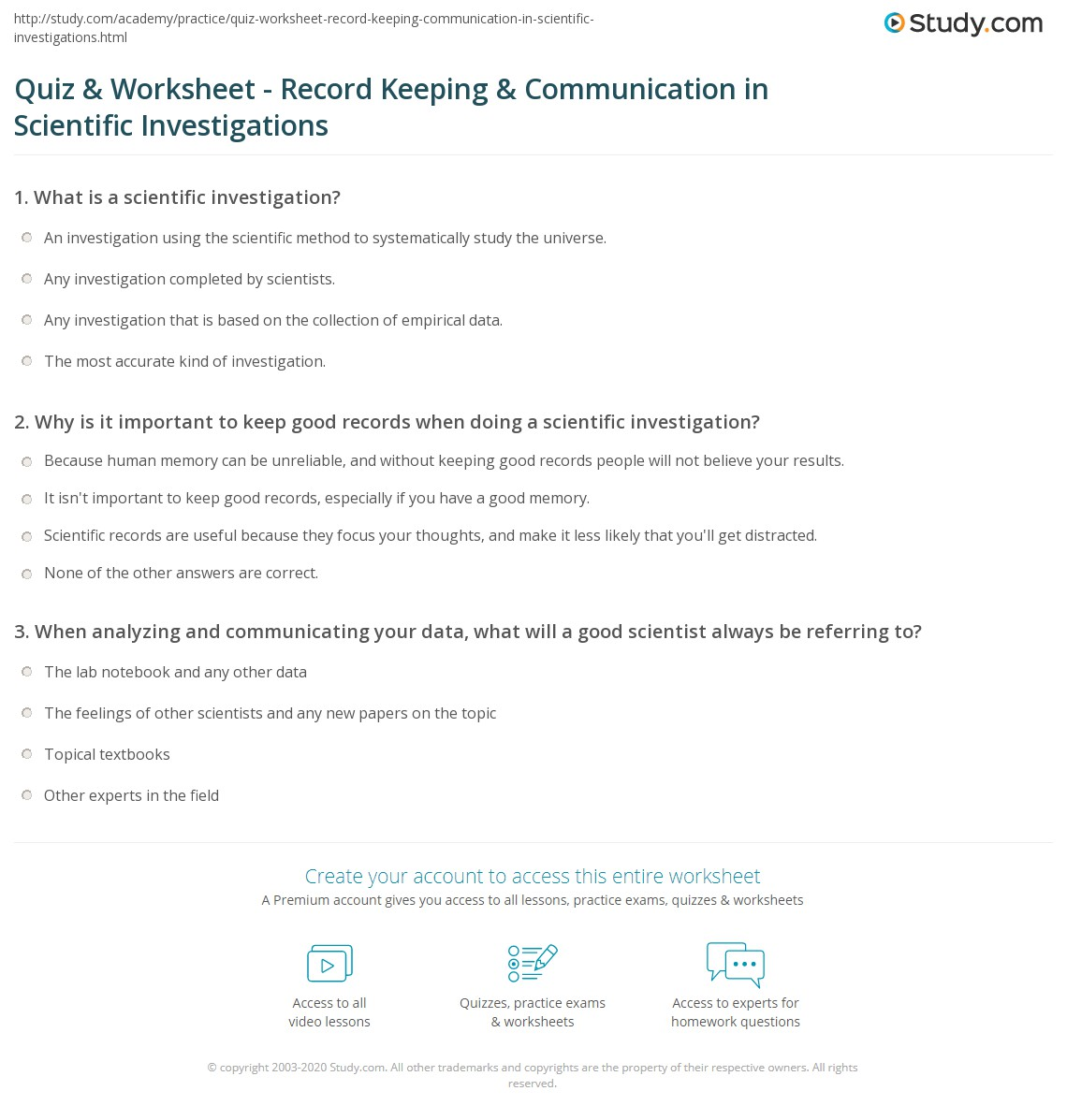 Worksheets A Good Scientist Can Worksheet quiz worksheet record keeping communication in scientific why is important to keep good records when doing a investigation