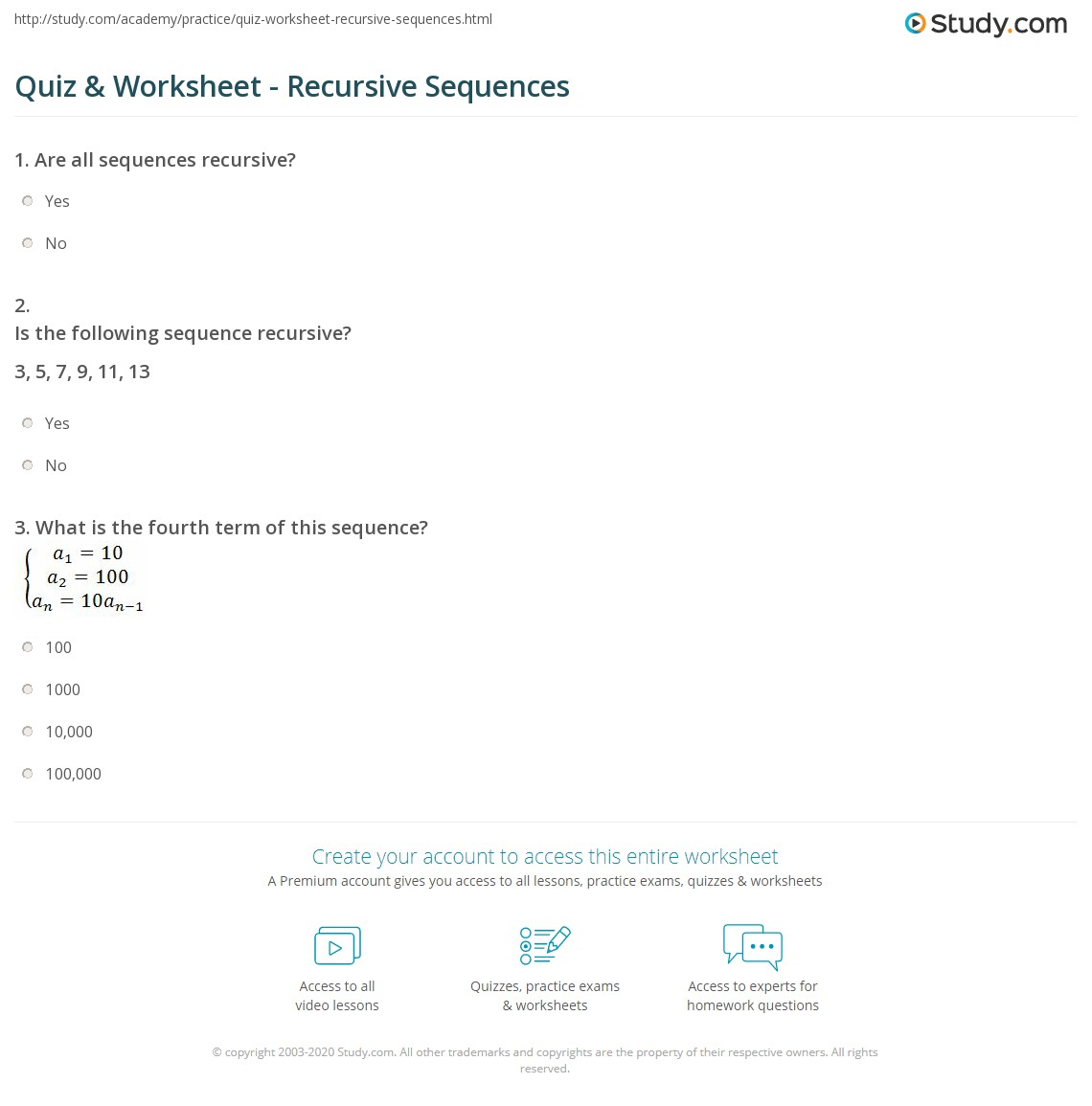 Quiz Worksheet Recursive Sequences – Sequences Worksheet