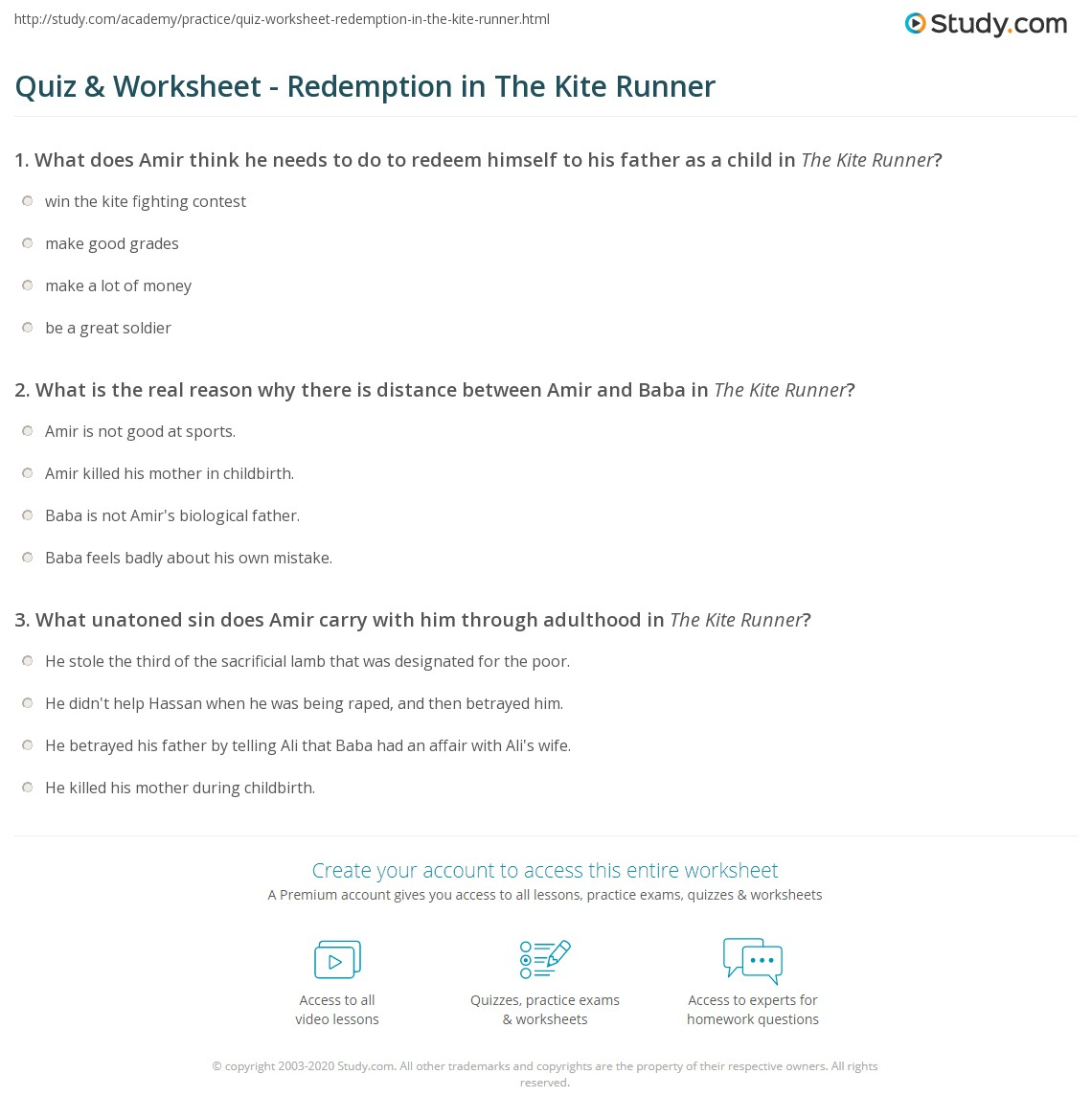 quiz worksheet redemption in the kite runner com print redemption in the kite runner analysis examples worksheet