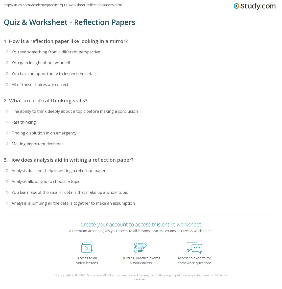 quiz worksheet reflection papers com print reflection paper definition examples worksheet