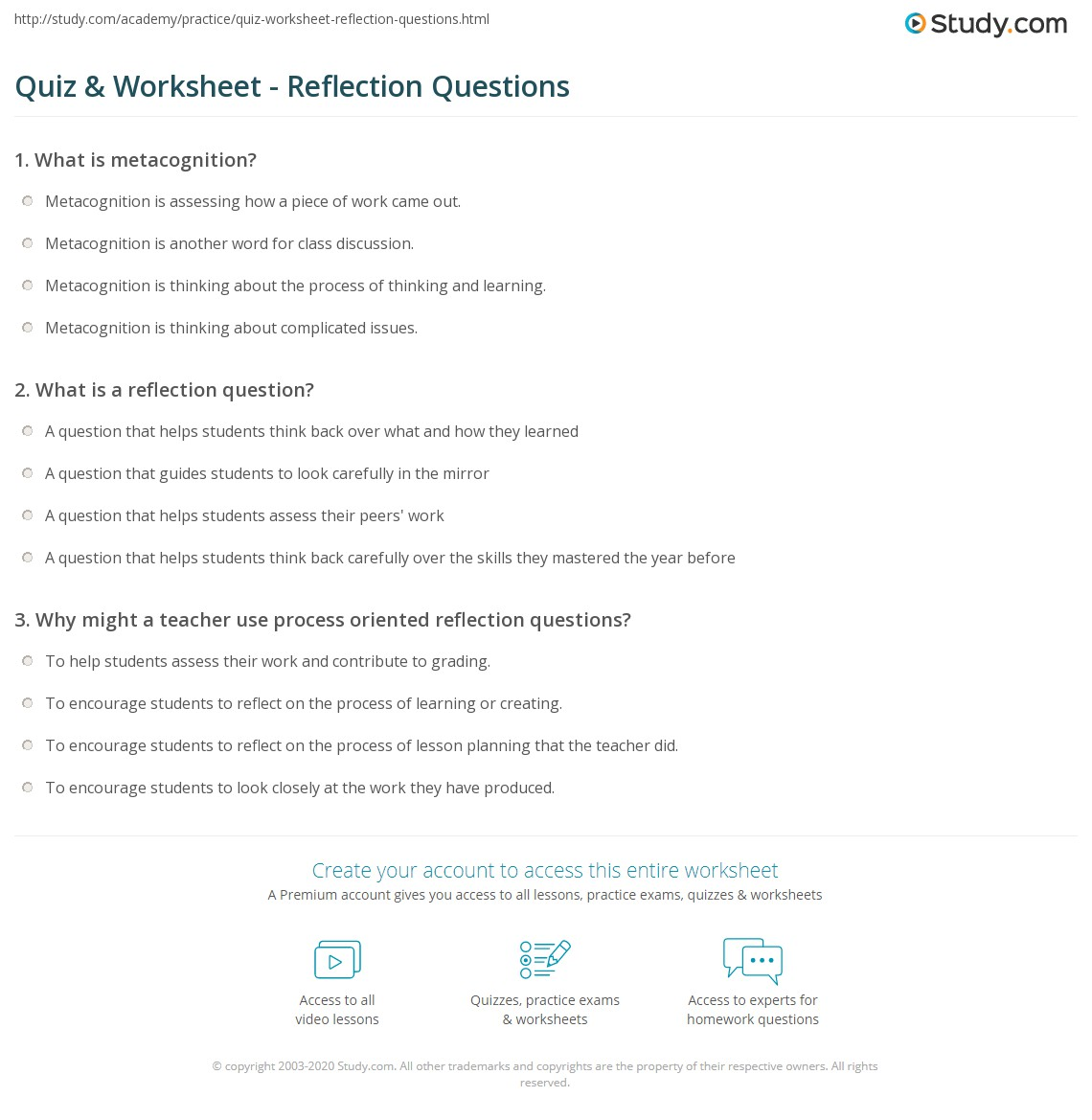 quiz worksheet reflection questions. Black Bedroom Furniture Sets. Home Design Ideas