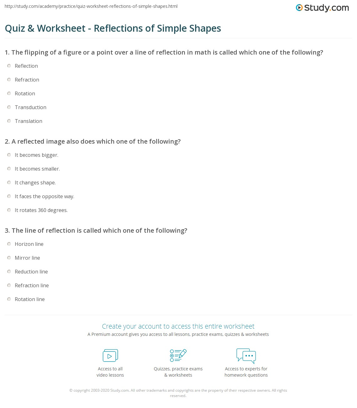 Quiz Worksheet Reflections of Simple Shapes – Reflections Worksheet