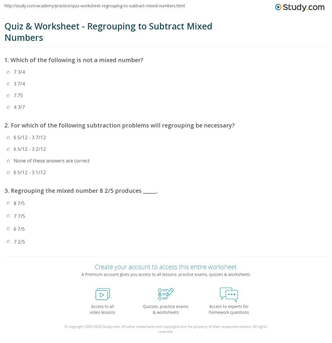 Quiz and Worksheet Regrouping to Subtract Mixed Numbers – Subtracting Mixed Numbers with Regrouping Worksheets