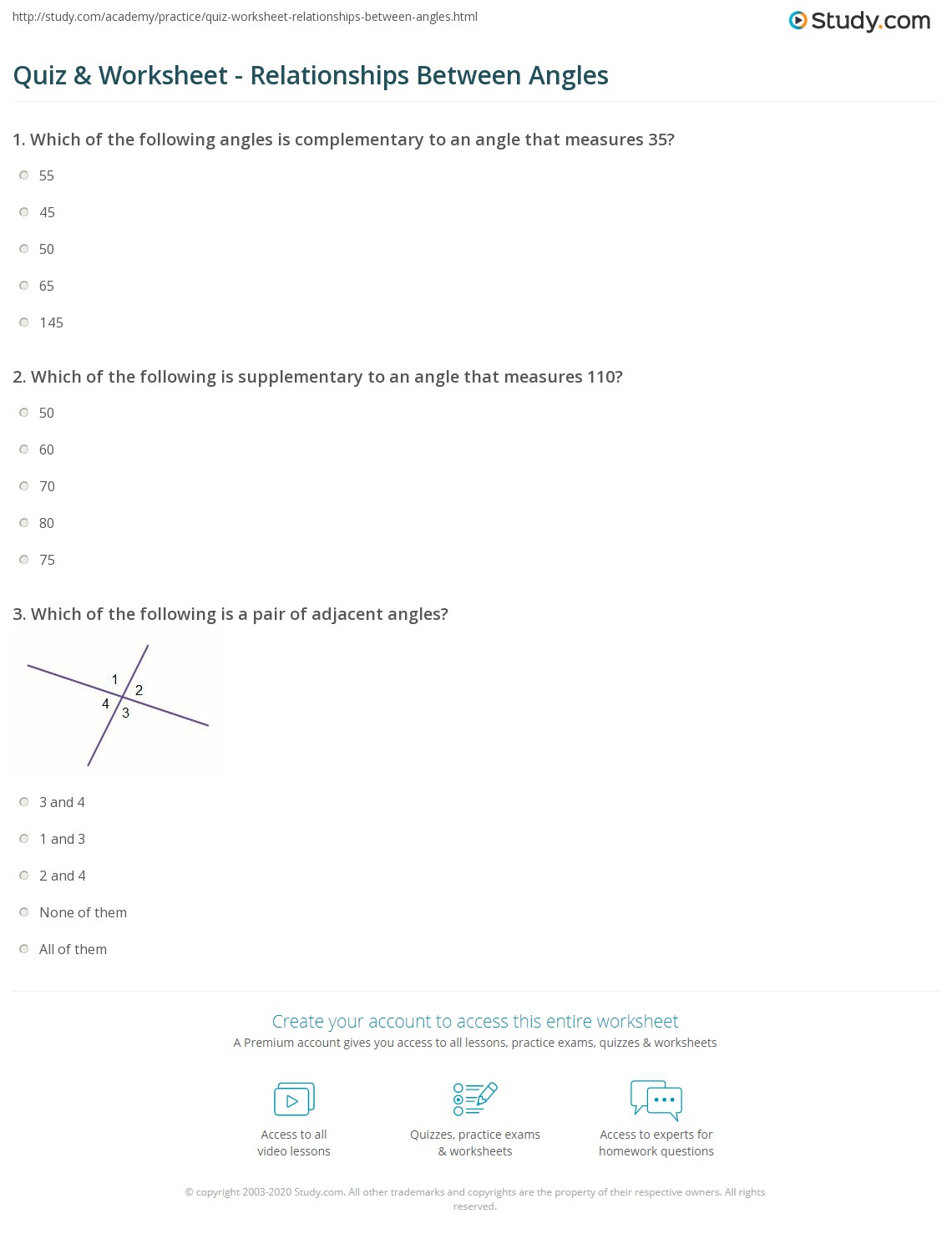 Quiz Worksheet Relationships Between Angles – Complementary and Supplementary Angles Worksheets