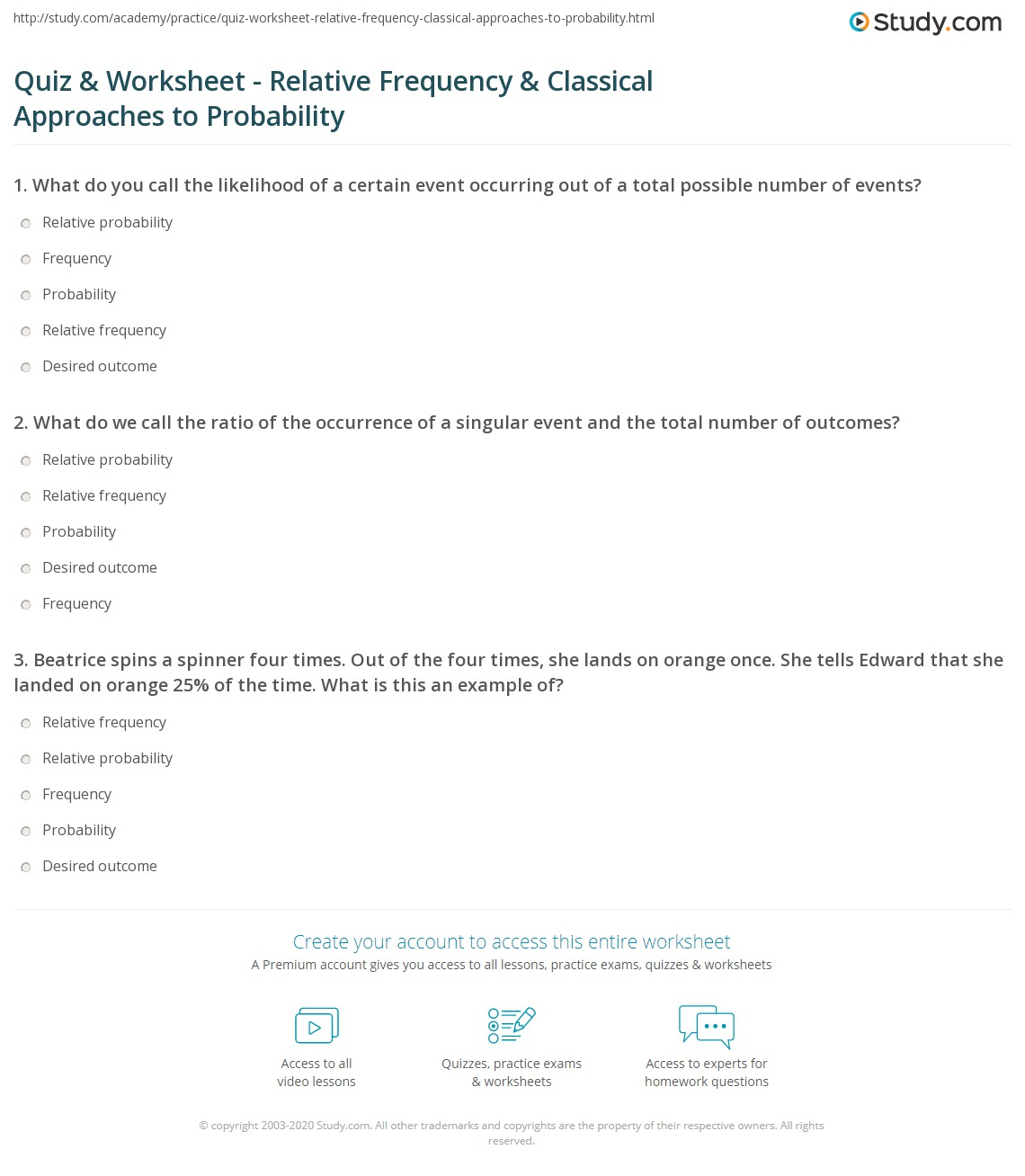 {Quiz Worksheet Relative Frequency Classical Approaches to – Relative Frequency Worksheet