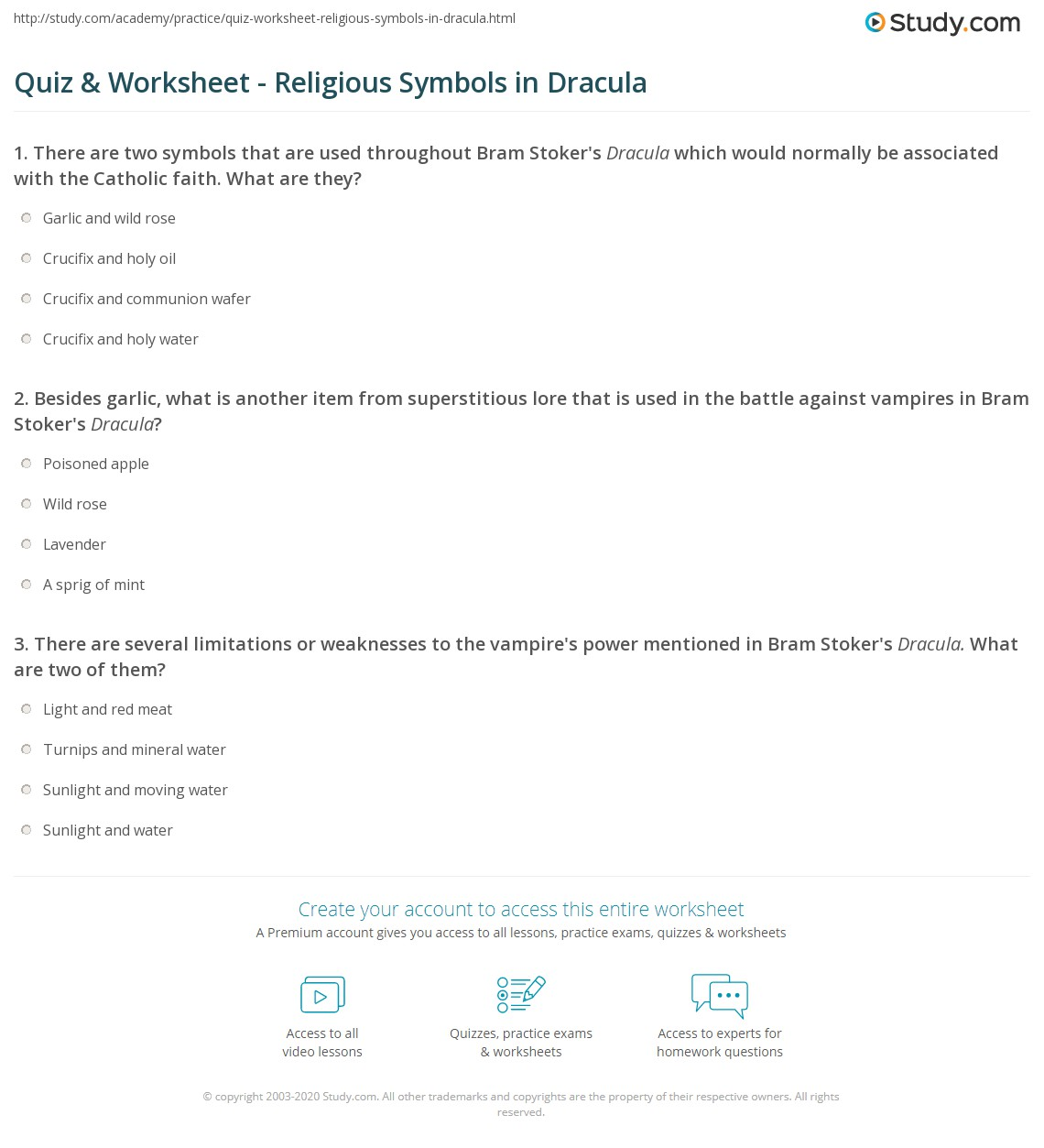 Print Symbolism in Dracula: Christian, Religious & Crucifix Worksheet