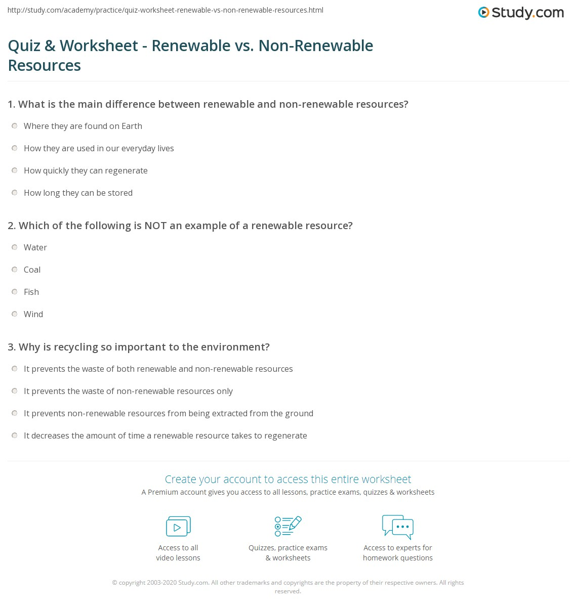 Quiz & Worksheet - Renewable vs. Non-Renewable Resources | Study.com