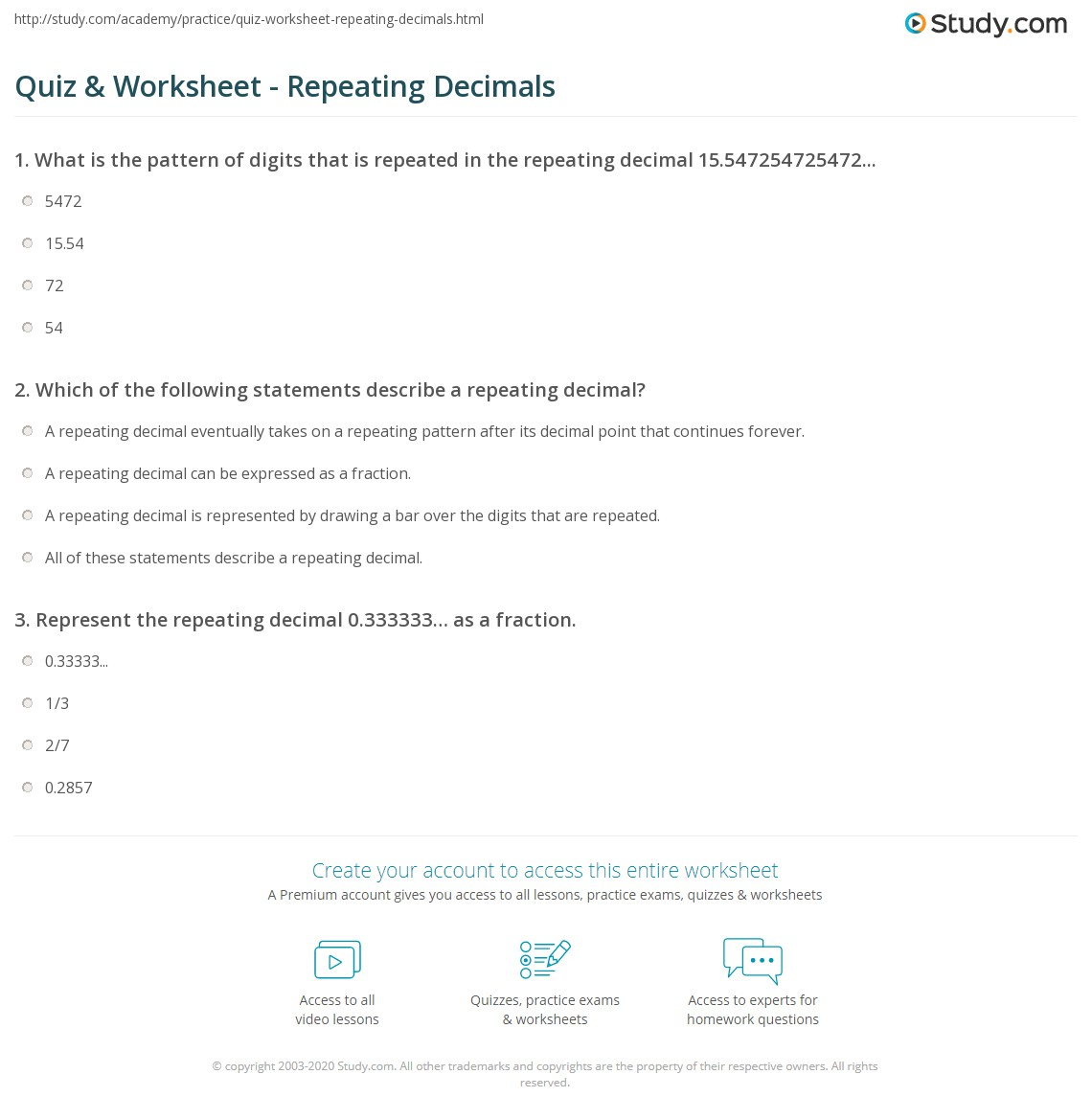 math worksheet : quiz  worksheet  repeating decimals  study  : Recurring Decimals To Fractions Worksheet