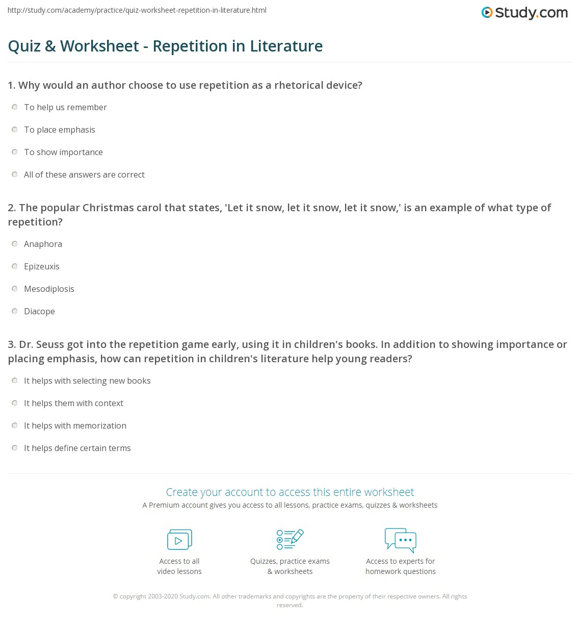 Quiz & Worksheet - Repetition in Literature | Study.com Repetition In Literature