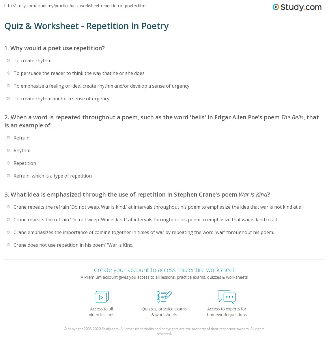 Quiz Worksheet Repetition in Poetry – Poetry Worksheet