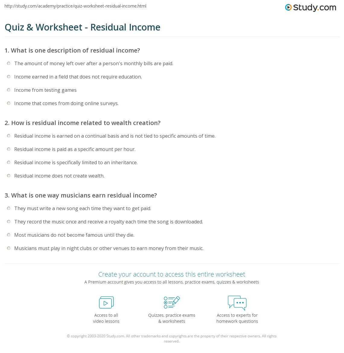 Quiz Worksheet Residual Income – Earned Income Worksheet