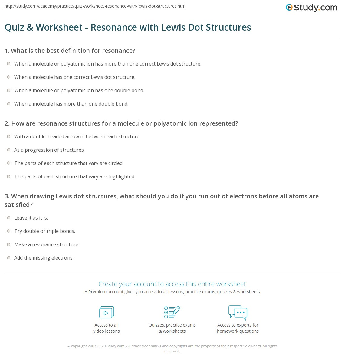 Quiz Worksheet Resonance with Lewis Dot Structures – Drawing Lewis Structures Worksheet