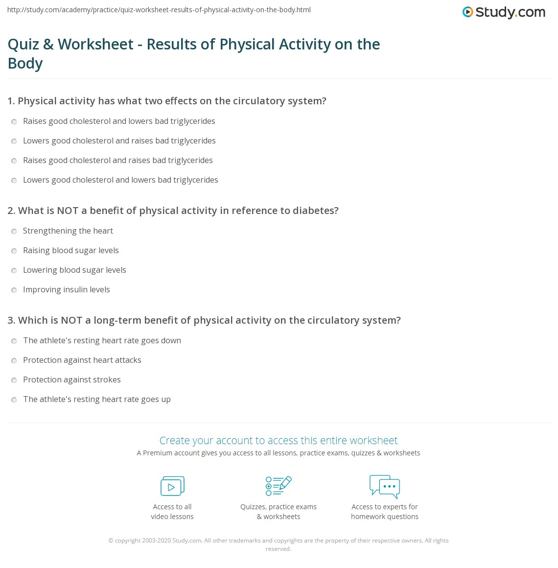 Quiz Worksheet Results of Physical Activity on the Body – Body Systems Worksheet