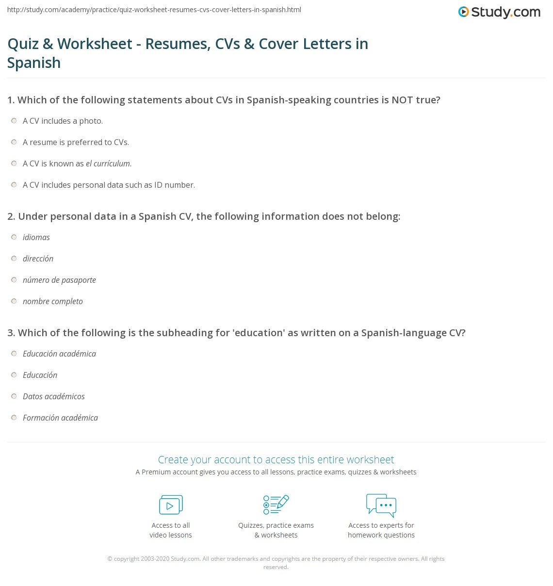 quiz  worksheet  resumes cvs  cover letters in spanish  studycom also print writing resumes cvs  cover letters in spanish worksheet