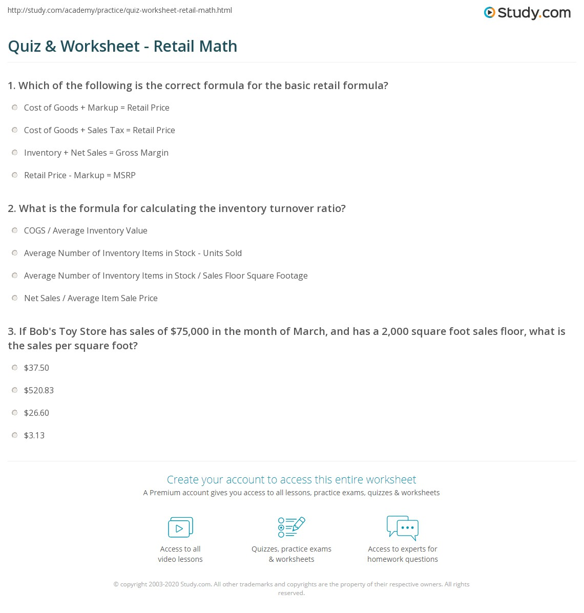 Quiz and Worksheet Retail Math – Maths Quiz Worksheets