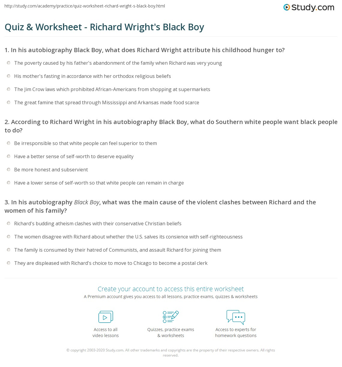 quiz worksheet richard wright s black boy com print richard wright s black boy summary and analysis worksheet