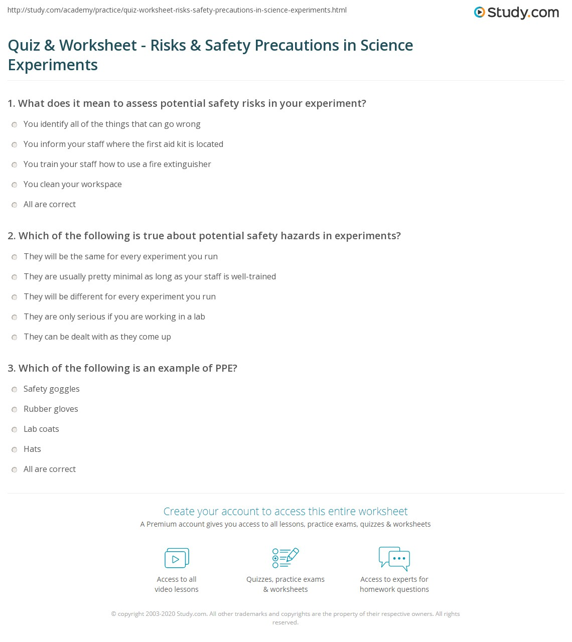 Quiz Worksheet Risks Safety Precautions in Science – Science Experiment Worksheet