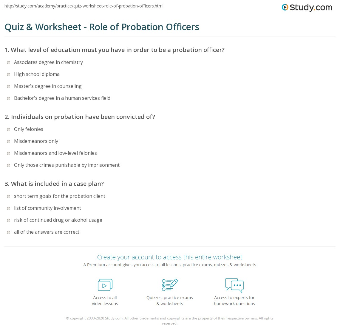 Quiz Worksheet Role of Probation Officers – Probation Officer Job Description