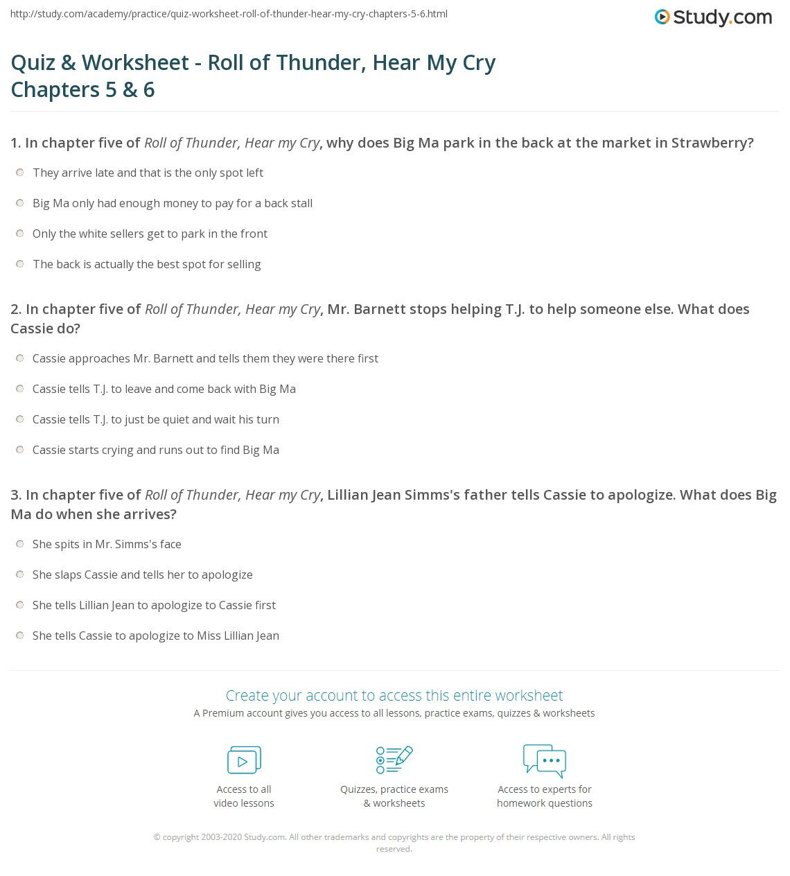 quiz worksheet roll of thunder hear my cry chapters 5 6. Black Bedroom Furniture Sets. Home Design Ideas