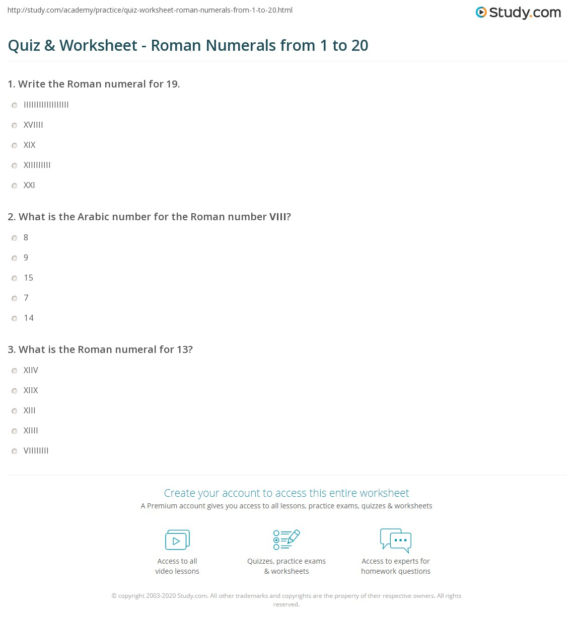 Quiz Worksheet Roman Numerals from 1 to 20 – Roman Numeral Worksheet