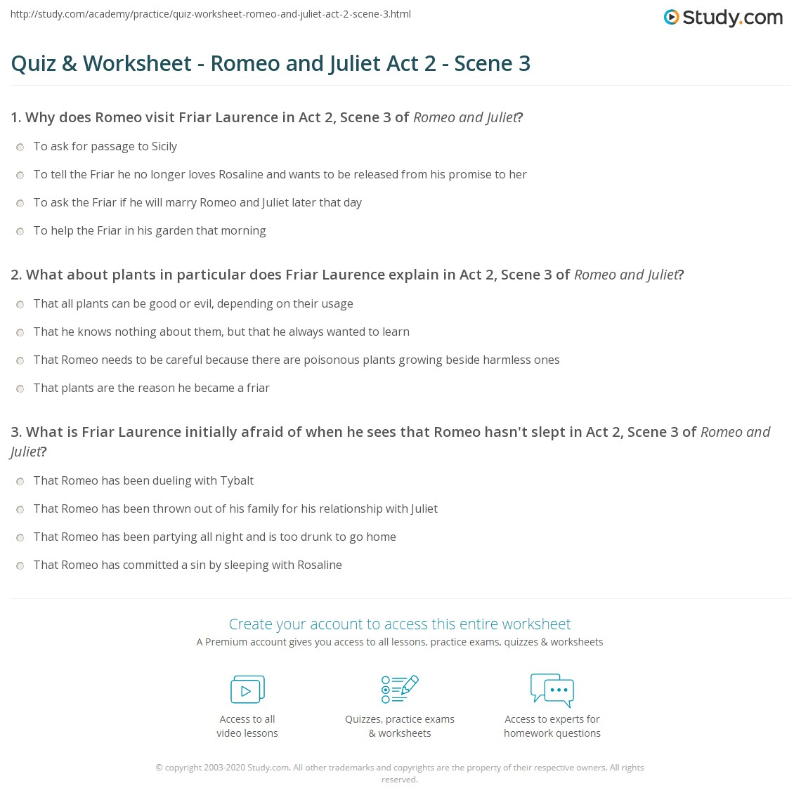 Quiz Worksheet Romeo and Juliet Act 2 Scene 3 – Romeo and Juliet Worksheet