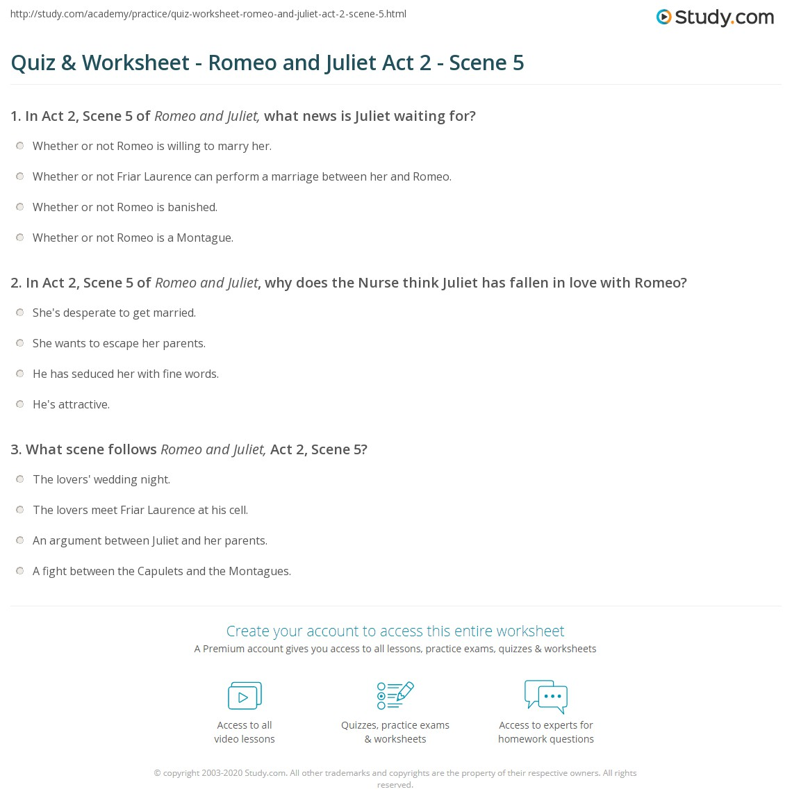 quiz worksheet romeo and juliet act scene com print romeo and juliet act 2 scene 5 summary worksheet