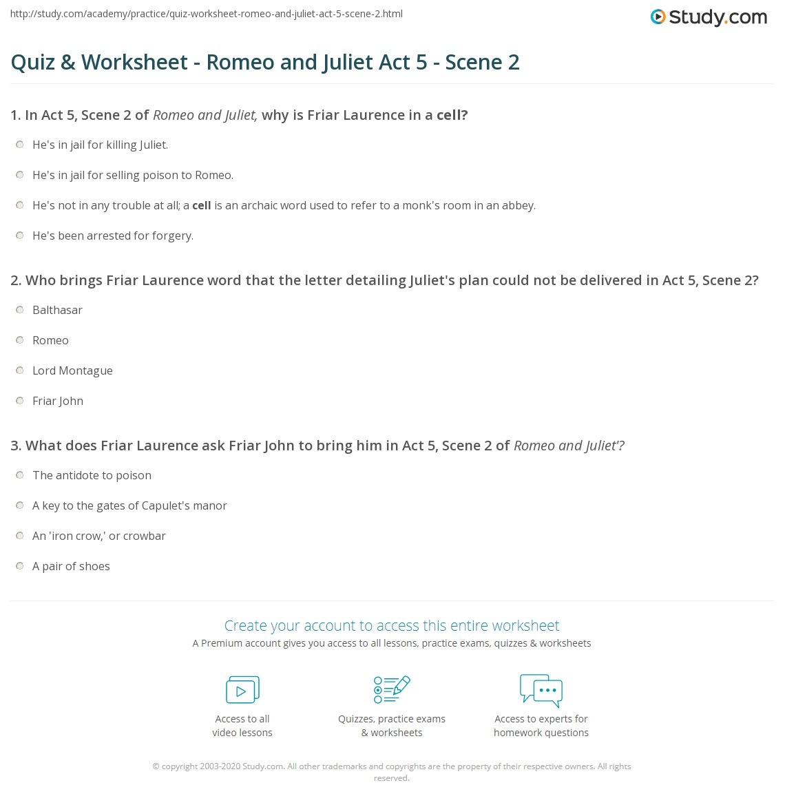 Quiz Worksheet Romeo and Juliet Act 5 Scene 2 – Romeo and Juliet Worksheet